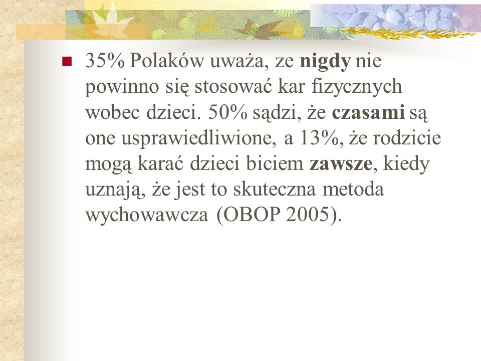 35% Polaków uważa, ze nigdy nie powinno się stosować kar fizycznych wobec dzieci.
