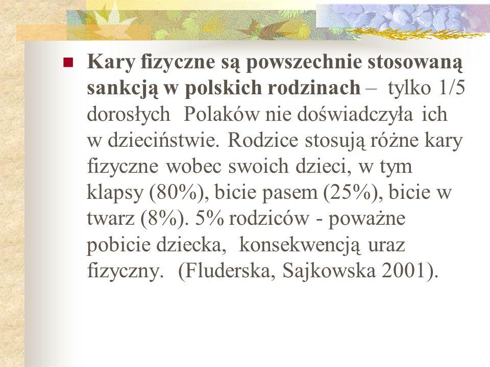 Kary fizyczne są powszechnie stosowaną sankcją w polskich rodzinach – tylko 1/5 dorosłych Polaków nie doświadczyła ich w dzieciństwie.