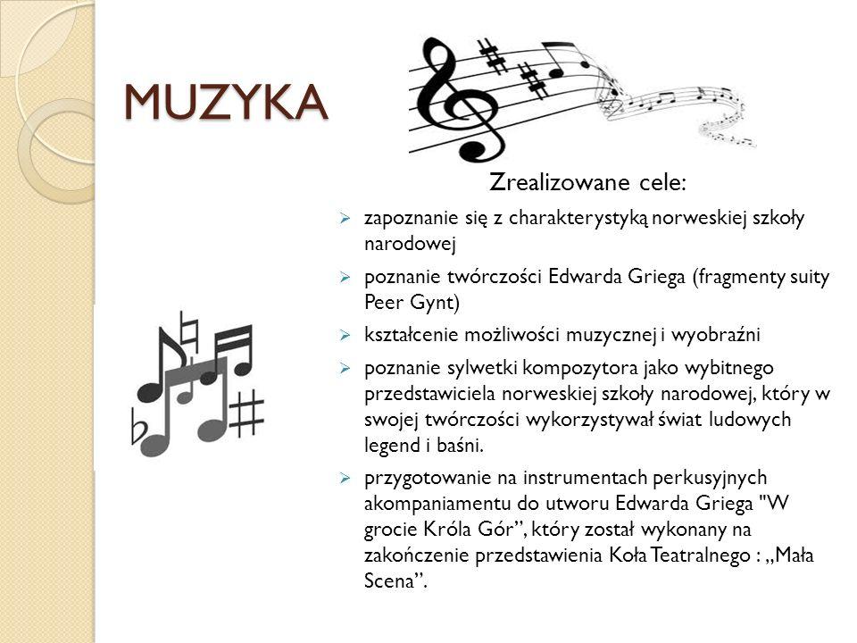 MUZYKA Zrealizowane cele:  zapoznanie się z charakterystyką norweskiej szkoły narodowej  poznanie twórczości Edwarda Griega (fragmenty suity Peer Gy