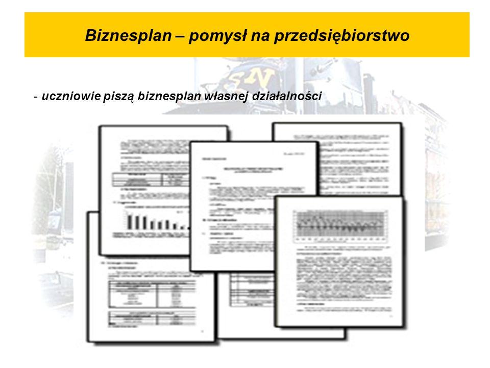 Biznesplan – pomysł na przedsiębiorstwo - uczniowie piszą biznesplan własnej działalności