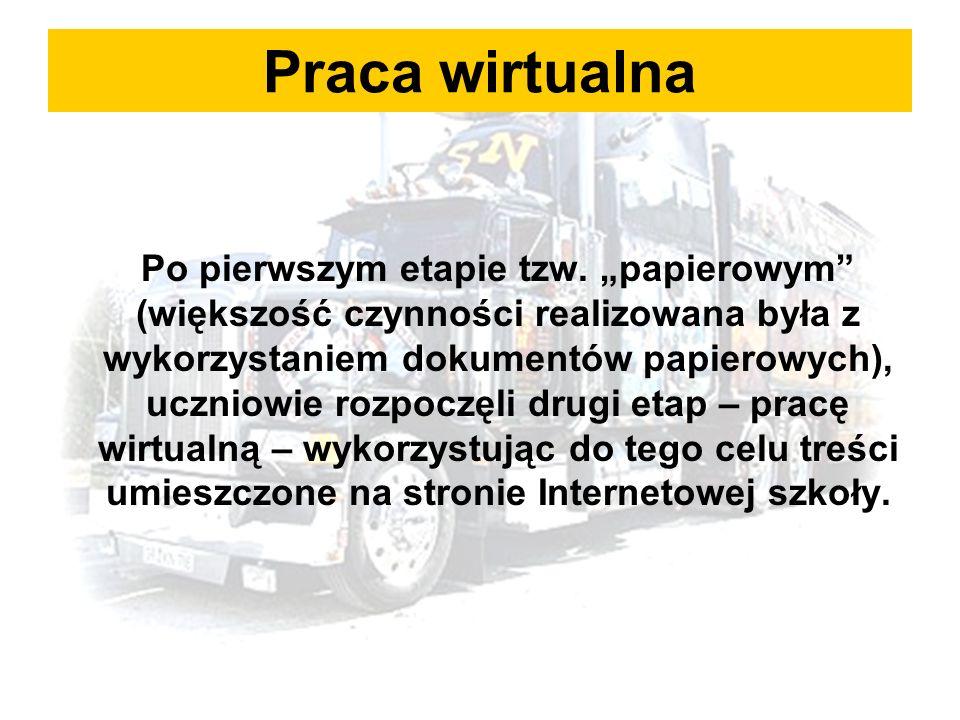 Praca wirtualna Po pierwszym etapie tzw.
