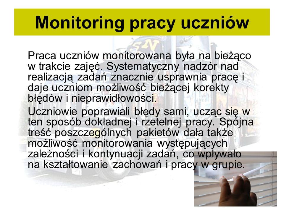 Monitoring pracy uczniów Praca uczniów monitorowana była na bieżąco w trakcie zajęć.