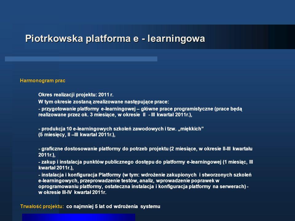 Piotrkowska platforma e - learningowa Harmonogram prac Okres realizacji projektu: 2011 r.