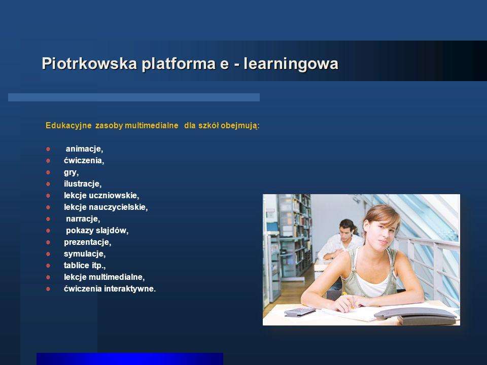 Piotrkowska platforma e - learningowa Edukacyjne zasoby multimedialne dla szkół obejmują: animacje, ćwiczenia, gry, ilustracje, lekcje uczniowskie, lekcje nauczycielskie, narracje, pokazy slajdów, prezentacje, symulacje, tablice itp., lekcje multimedialne, ćwiczenia interaktywne.