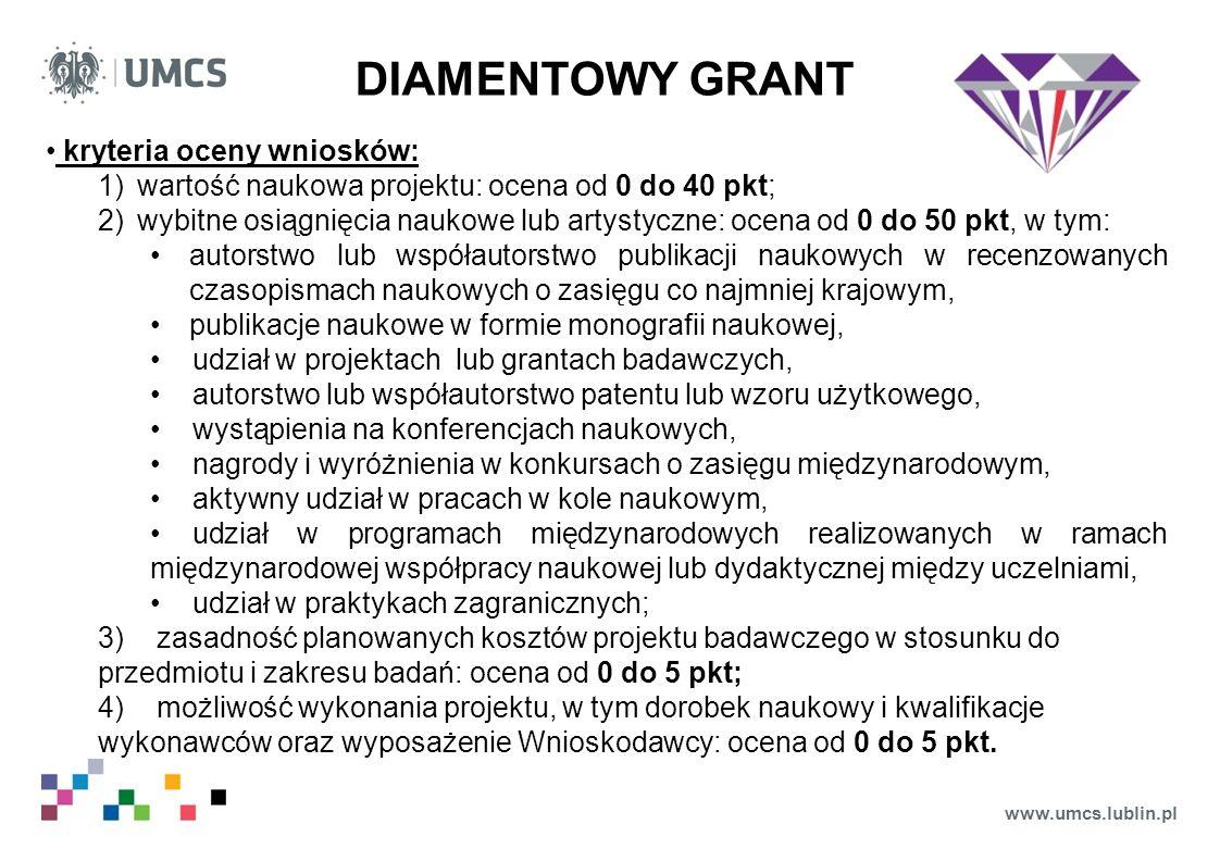 www.umcs.lublin.pl DIAMENTOWY GRANT kryteria oceny wniosków: 1)wartość naukowa projektu: ocena od 0 do 40 pkt; 2)wybitne osiągnięcia naukowe lub artys
