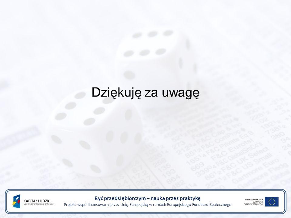 Dziękuję za uwagę Być przedsiębiorczym – nauka przez praktykę Projekt współfinansowany przez Unię Europejską w ramach Europejskiego Funduszu Społecznego