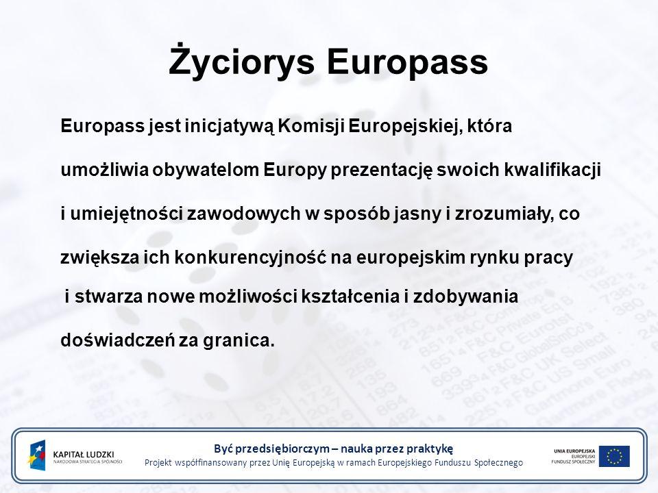 Życiorys Europass Europass jest inicjatywą Komisji Europejskiej, która umożliwia obywatelom Europy prezentację swoich kwalifikacji i umiejętności zawodowych w sposób jasny i zrozumiały, co zwiększa ich konkurencyjność na europejskim rynku pracy i stwarza nowe możliwości kształcenia i zdobywania doświadczeń za granica.