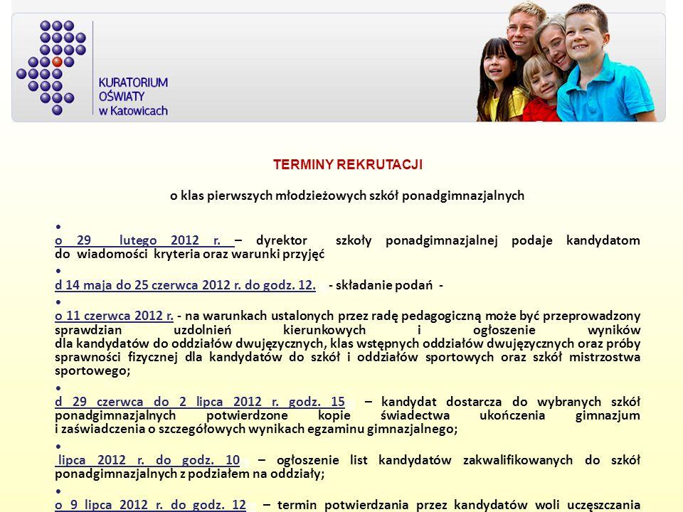 T TERMINY REKRUTACJI d o klas pierwszych młodzieżowych szkół ponadgimnazjalnych d o 29 lutego 2012 r. – dyrektor szkoły ponadgimnazjalnej podaje kandy
