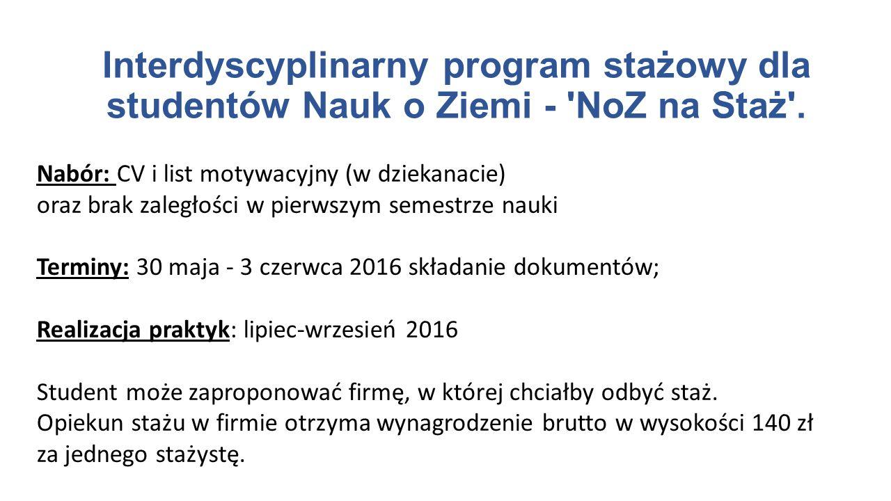 Nabór: CV i list motywacyjny (w dziekanacie) oraz brak zaległości w pierwszym semestrze nauki Terminy: 30 maja - 3 czerwca 2016 składanie dokumentów;