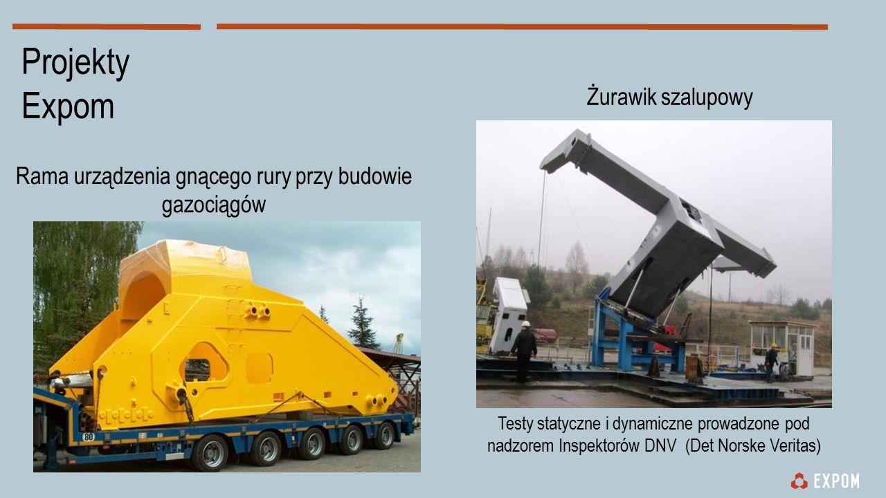 Rama urządzenia gnącego rury przy budowie gazociągów Żurawik szalupowy Testy statyczne i dynamiczne prowadzone pod nadzorem Inspektorów DNV (Det Norske Veritas) Projekty Expom