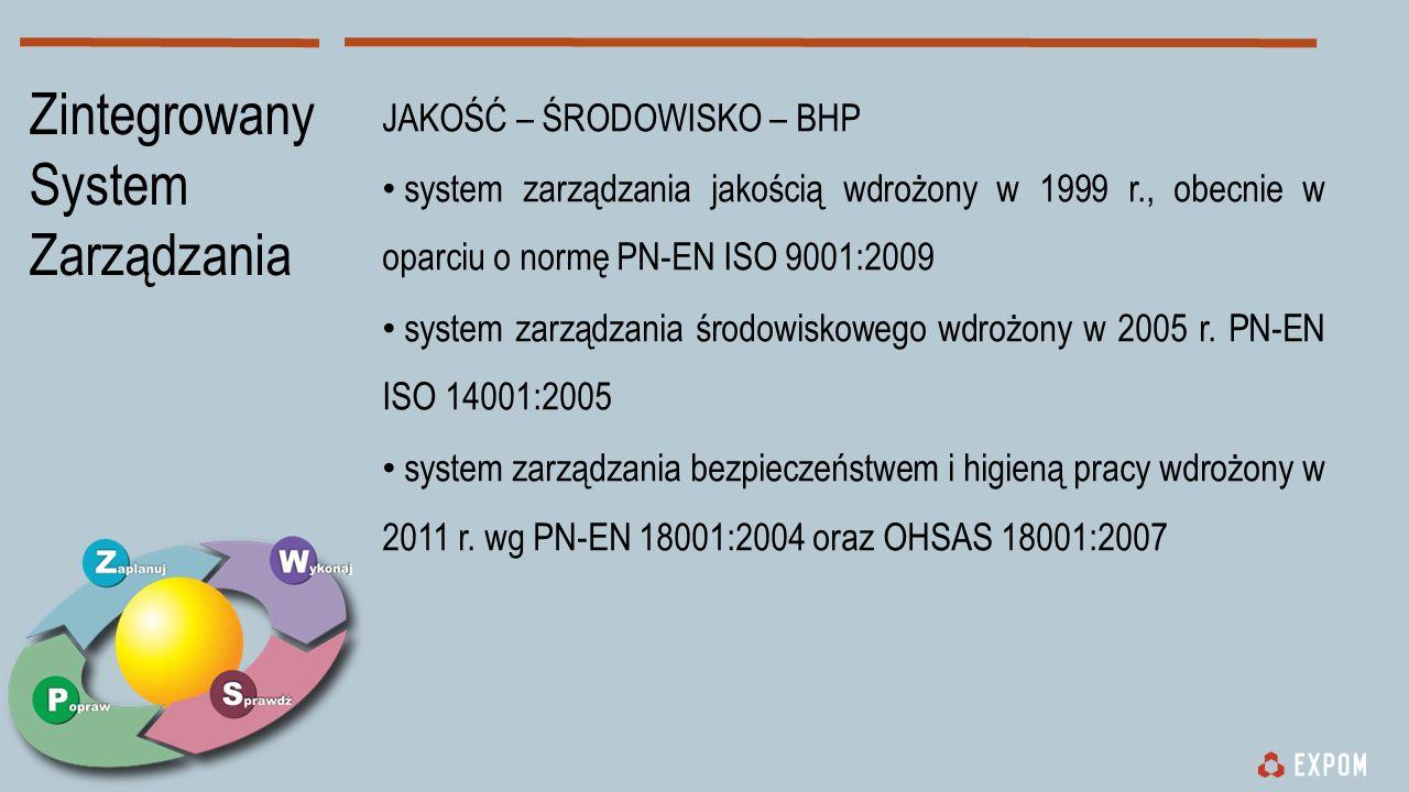JAKOŚĆ – ŚRODOWISKO – BHP system zarządzania jakością wdrożony w 1999 r., obecnie w oparciu o normę PN-EN ISO 9001:2009 system zarządzania środowiskowego wdrożony w 2005 r.