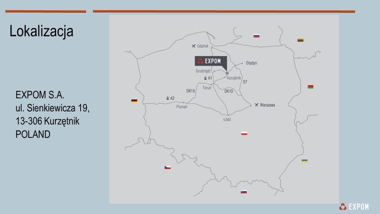 Lokalizacja EXPOM S.A. ul. Sienkiewicza 19, 13-306 Kurzętnik POLAND