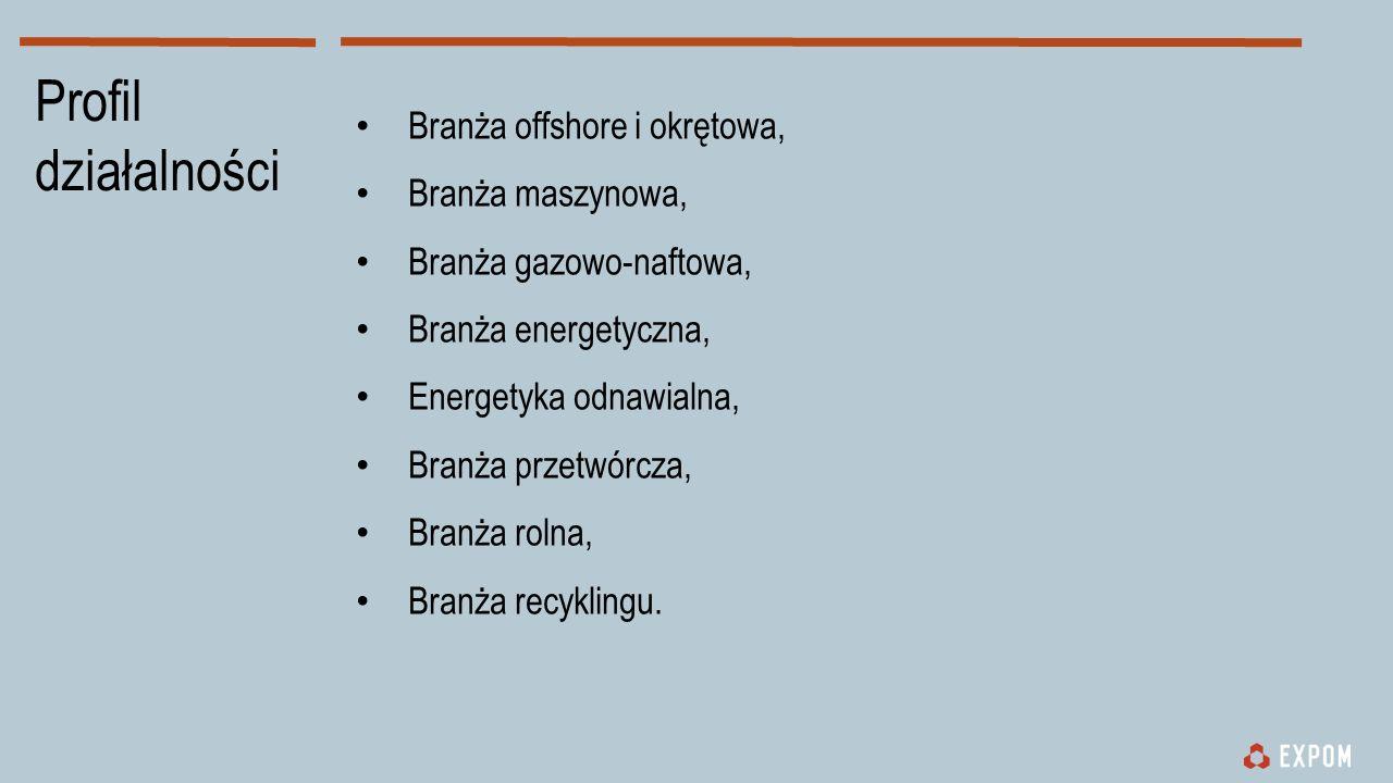 Profil działalności Branża offshore i okrętowa, Branża maszynowa, Branża gazowo-naftowa, Branża energetyczna, Energetyka odnawialna, Branża przetwórcza, Branża rolna, Branża recyklingu.