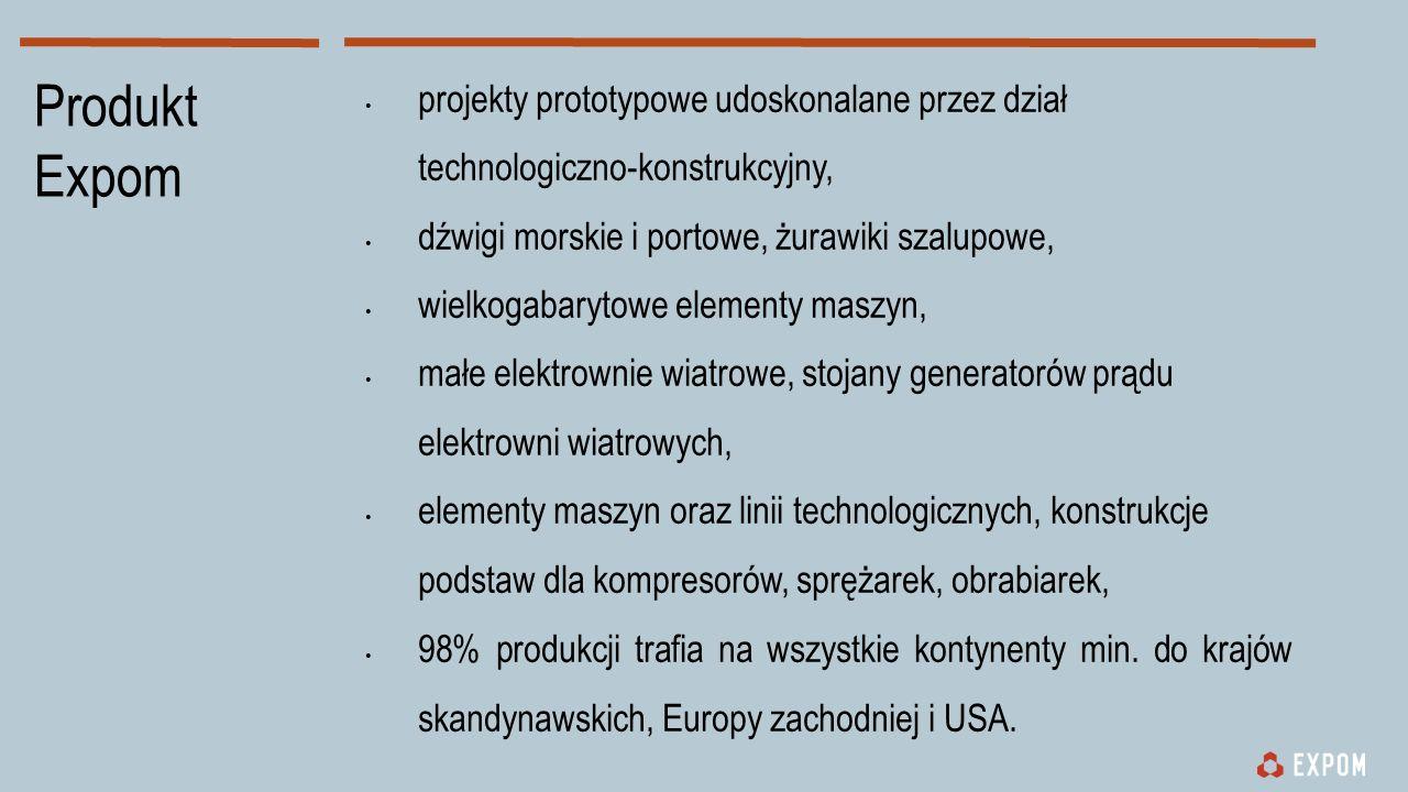 projekty prototypowe udoskonalane przez dział technologiczno-konstrukcyjny, dźwigi morskie i portowe, żurawiki szalupowe, wielkogabarytowe elementy maszyn, małe elektrownie wiatrowe, stojany generatorów prądu elektrowni wiatrowych, elementy maszyn oraz linii technologicznych, konstrukcje podstaw dla kompresorów, sprężarek, obrabiarek, 98% produkcji trafia na wszystkie kontynenty min.