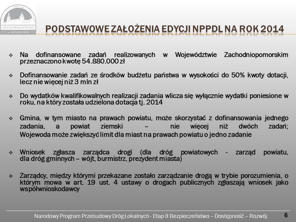 Narodowy Program Przebudowy Dróg Lokalnych - Etap II Bezpieczeństwo – Dostępność – Rozwój 1.09.2013 r.