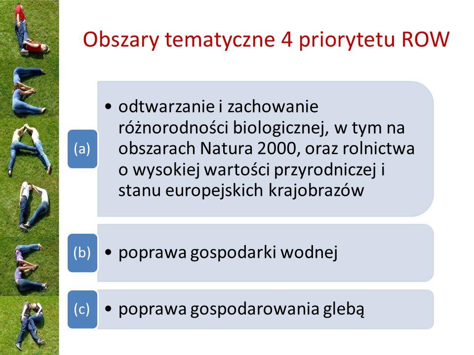 Obszary tematyczne 4 priorytetu ROW odtwarzanie i zachowanie różnorodności biologicznej, w tym na obszarach Natura 2000, oraz rolnictwa o wysokiej wartości przyrodniczej i stanu europejskich krajobrazów (a) poprawa gospodarki wodnej (b) poprawa gospodarowania glebą (c)