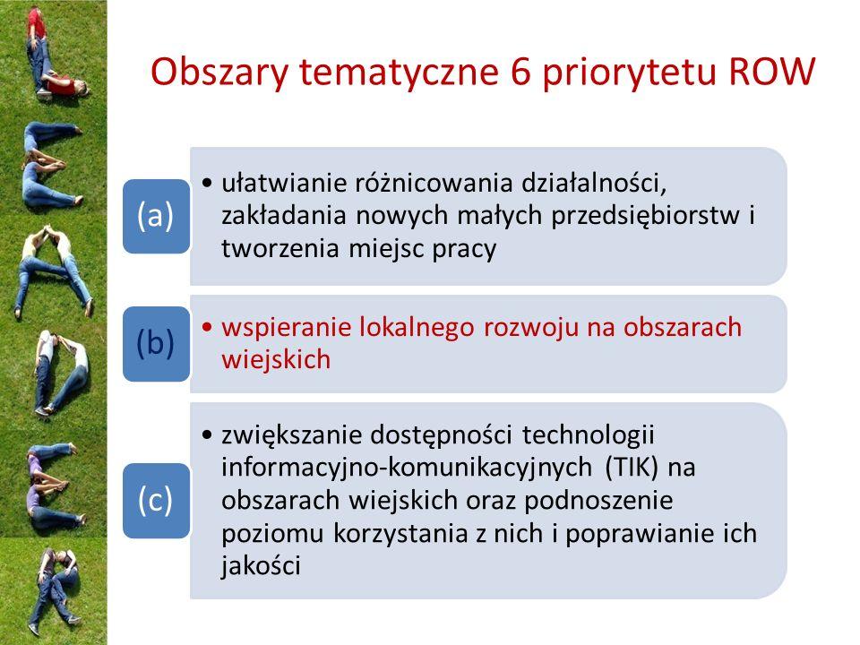 Obszary tematyczne 6 priorytetu ROW ułatwianie różnicowania działalności, zakładania nowych małych przedsiębiorstw i tworzenia miejsc pracy (a) wspieranie lokalnego rozwoju na obszarach wiejskich (b) zwiększanie dostępności technologii informacyjno-komunikacyjnych (TIK) na obszarach wiejskich oraz podnoszenie poziomu korzystania z nich i poprawianie ich jakości (c)