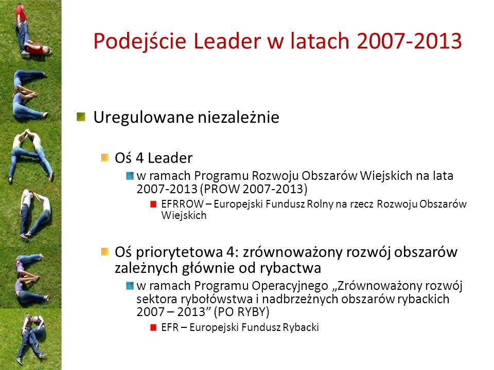 """Podejście Leader w latach 2007-2013 Uregulowane niezależnie Oś 4 Leader w ramach Programu Rozwoju Obszarów Wiejskich na lata 2007-2013 (PROW 2007-2013) EFRROW – Europejski Fundusz Rolny na rzecz Rozwoju Obszarów Wiejskich Oś priorytetowa 4: zrównoważony rozwój obszarów zależnych głównie od rybactwa w ramach Programu Operacyjnego """"Zrównoważony rozwój sektora rybołówstwa i nadbrzeżnych obszarów rybackich 2007 – 2013 (PO RYBY) EFR – Europejski Fundusz Rybacki"""