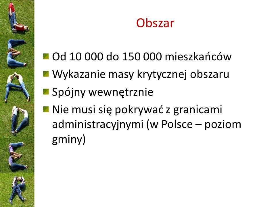 Obszar Od 10 000 do 150 000 mieszkańców Wykazanie masy krytycznej obszaru Spójny wewnętrznie Nie musi się pokrywać z granicami administracyjnymi (w Polsce – poziom gminy)