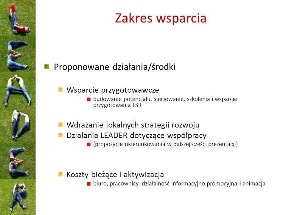 Zakres wsparcia Proponowane działania/środki Wsparcie przygotowawcze budowanie potencjału, sieciowanie, szkolenia i wsparcie przygotowania LSR Wdrażanie lokalnych strategii rozwoju Działania LEADER dotyczące współpracy (propozycje ukierunkowania w dalszej części prezentacji) Koszty bieżące i aktywizacja biuro, pracownicy, działalność informacyjno-promocyjna i animacja