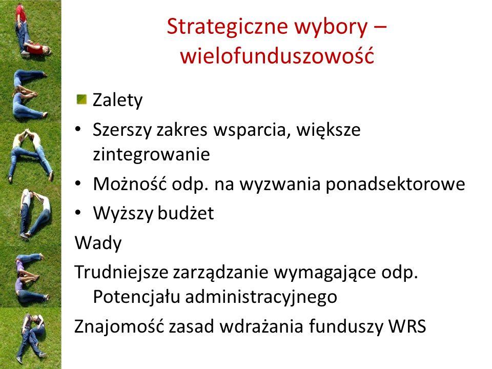 Strategiczne wybory – wielofunduszowość Zalety Szerszy zakres wsparcia, większe zintegrowanie Możność odp.
