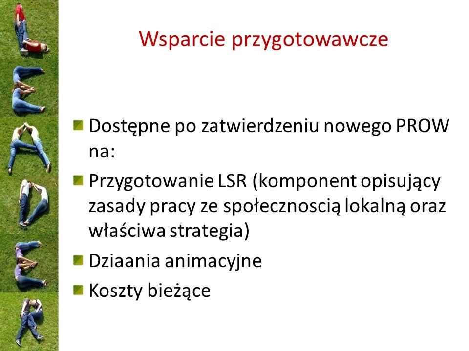 Wsparcie przygotowawcze Dostępne po zatwierdzeniu nowego PROW na: Przygotowanie LSR (komponent opisujący zasady pracy ze społecznoscią lokalną oraz właściwa strategia) Dziaania animacyjne Koszty bieżące