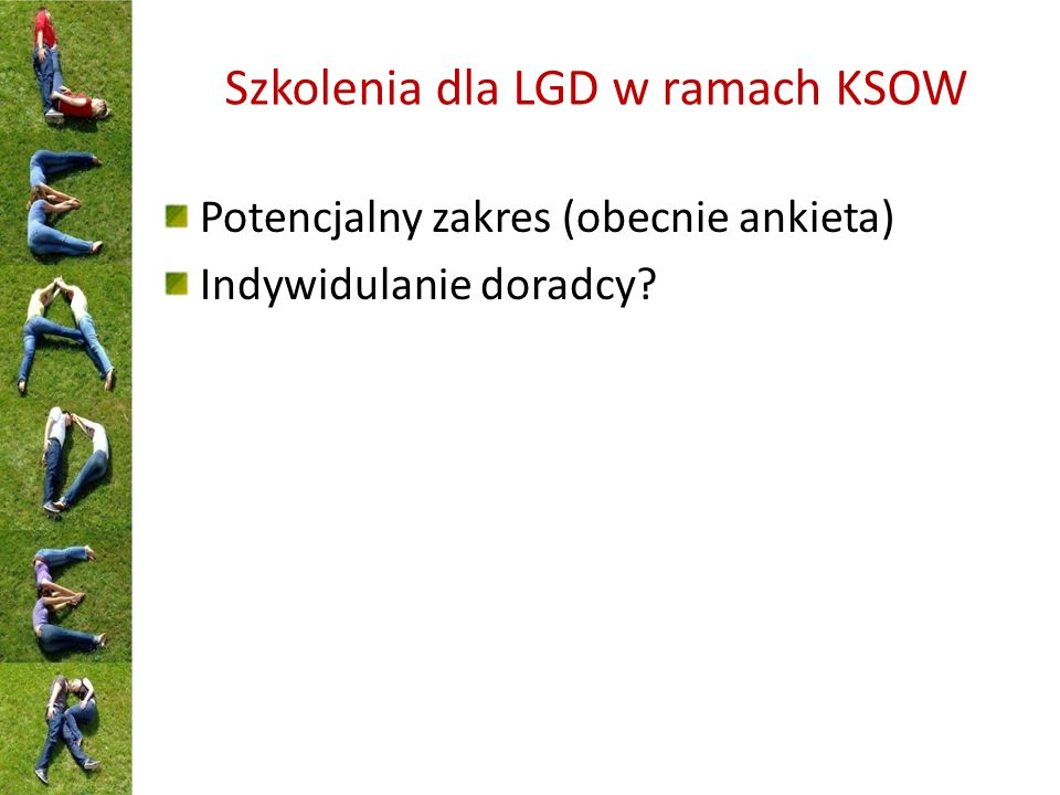 Szkolenia dla LGD w ramach KSOW Potencjalny zakres (obecnie ankieta) Indywidulanie doradcy?
