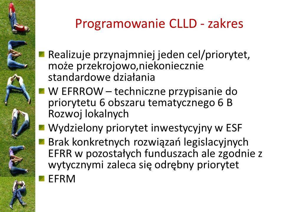 Programowanie CLLD - zakres Realizuje przynajmniej jeden cel/priorytet, może przekrojowo,niekoniecznie standardowe działania W EFRROW – techniczne przypisanie do priorytetu 6 obszaru tematycznego 6 B Rozwoj lokalnych Wydzielony priorytet inwestycyjny w ESF Brak konkretnych rozwiązań legislacyjnych EFRR w pozostałych funduszach ale zgodnie z wytycznymi zaleca się odrębny priorytet EFRM