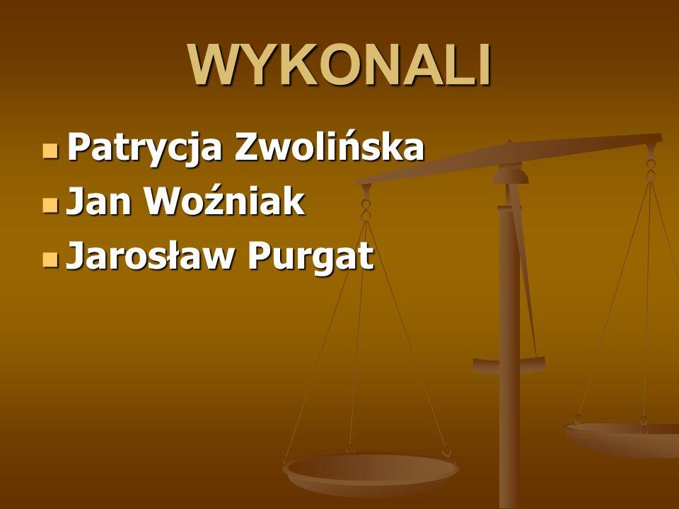 WYKONALI Patrycja Zwolińska Patrycja Zwolińska Jan Woźniak Jan Woźniak Jarosław Purgat Jarosław Purgat