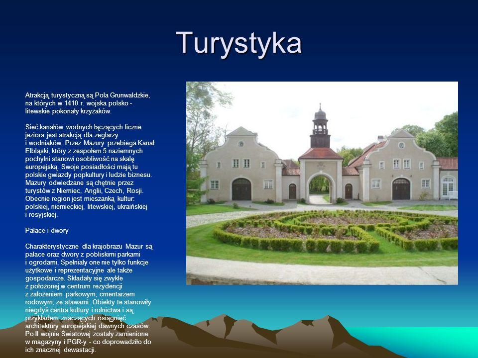 Turystyka Atrakcją turystyczną są Pola Grunwaldzkie, na których w 1410 r. wojska polsko - litewskie pokonały krzyżaków. Sieć kanałów wodnych łączących