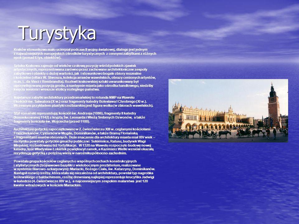 Turystyka Kraków stosunkowo mało ucierpiał podczas II wojny światowej, dlatego jest jednym z najważniejszych europejskich ośrodków turystycznych z cennymi zabytkami z różnych epok (ponad 6 tys.
