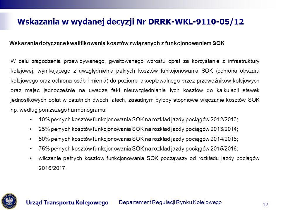 Urząd Transportu Kolejowego Departament Regulacji Transportu Kolejowego Wskazania w wydanej decyzji Nr DRRK-WKL-9110-05/12 12 Wskazania dotyczące kwalifikowania kosztów związanych z funkcjonowaniem SOK W celu złagodzenia przewidywanego, gwałtowanego wzrostu opłat za korzystanie z infrastruktury kolejowej, wynikającego z uwzględnienia pełnych kosztów funkcjonowania SOK (ochrona obszaru kolejowego oraz ochrona osób i mienia) do poziomu akceptowalnego przez przewoźników kolejowych oraz mając jednocześnie na uwadze fakt nieuwzględniania tych kosztów do kalkulacji stawek jednostkowych opłat w ostatnich dwóch latach, zasadnym byłoby stopniowe włączanie kosztów SOK np.