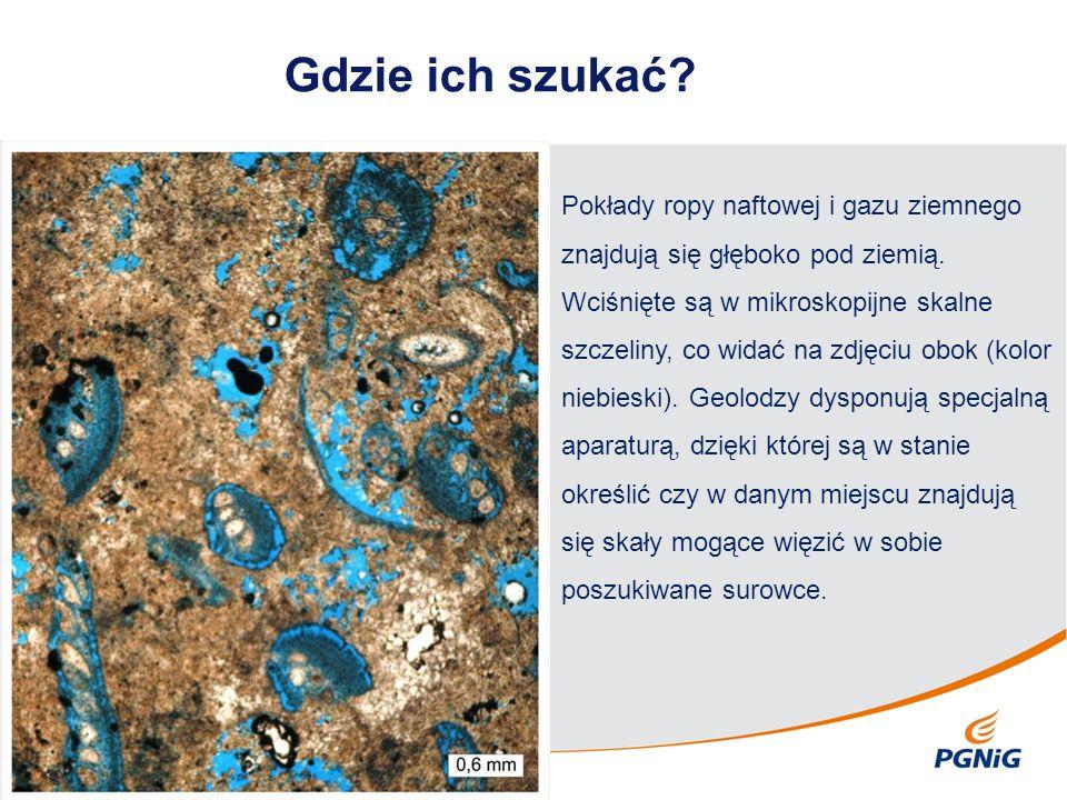 Gdzie ich szukać? 10 Pokłady ropy naftowej i gazu ziemnego znajdują się głęboko pod ziemią. Wciśnięte są w mikroskopijne skalne szczeliny, co widać na
