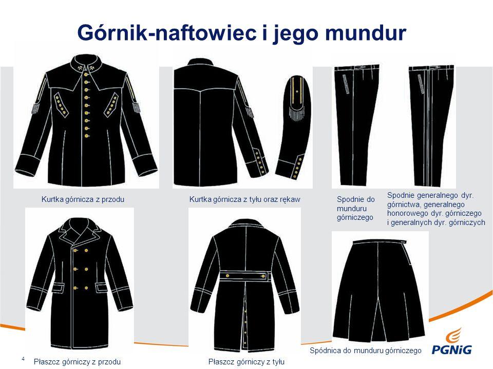 Górnik-naftowiec i jego mundur 4 Kurtka górnicza z przoduKurtka górnicza z tyłu oraz rękawSpodnie do munduru górniczego Spodnie generalnego dyr. górni