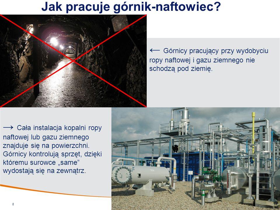 Jak pracuje górnik-naftowiec? 8 ← Górnicy pracujący przy wydobyciu ropy naftowej i gazu ziemnego nie schodzą pod ziemię. → Cała instalacja kopalni rop