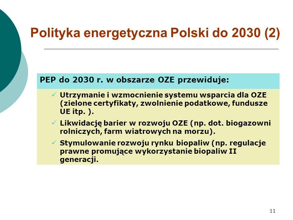 11 Polityka energetyczna Polski do 2030 (2) PEP do 2030 r.