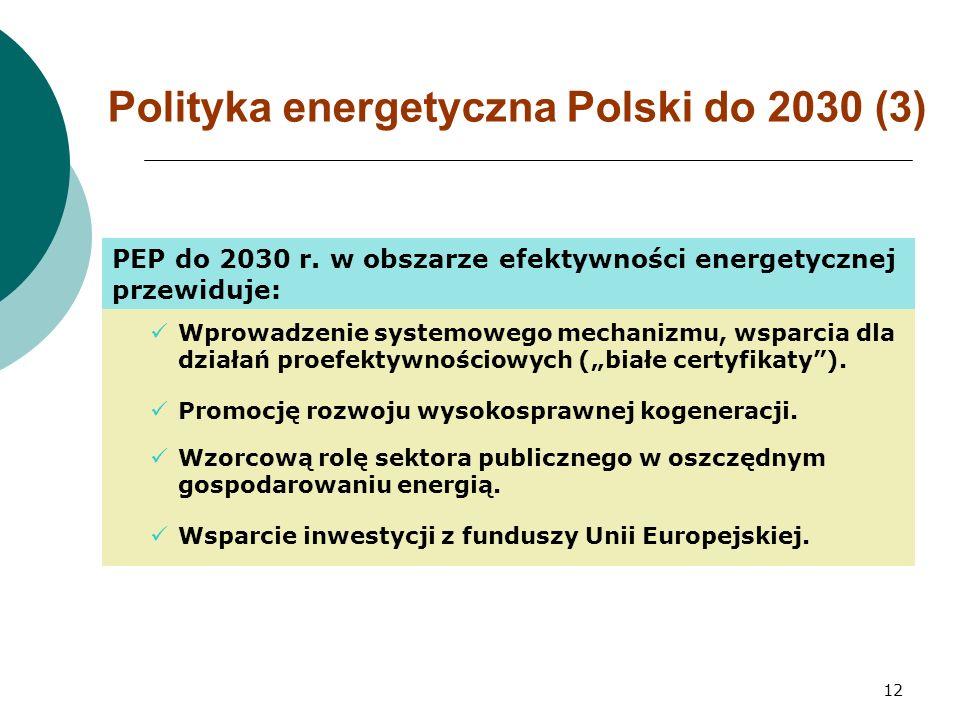 12 Polityka energetyczna Polski do 2030 (3) PEP do 2030 r.