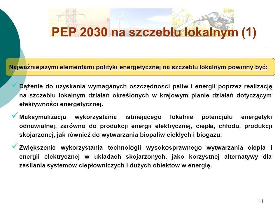 14 PEP 2030 na szczeblu lokalnym (1) Najważniejszymi elementami polityki energetycznej na szczeblu lokalnym powinny być: Dążenie do uzyskania wymaganych oszczędności paliw i energii poprzez realizację na szczeblu lokalnym działań określonych w krajowym planie działań dotyczącym efektywności energetycznej.
