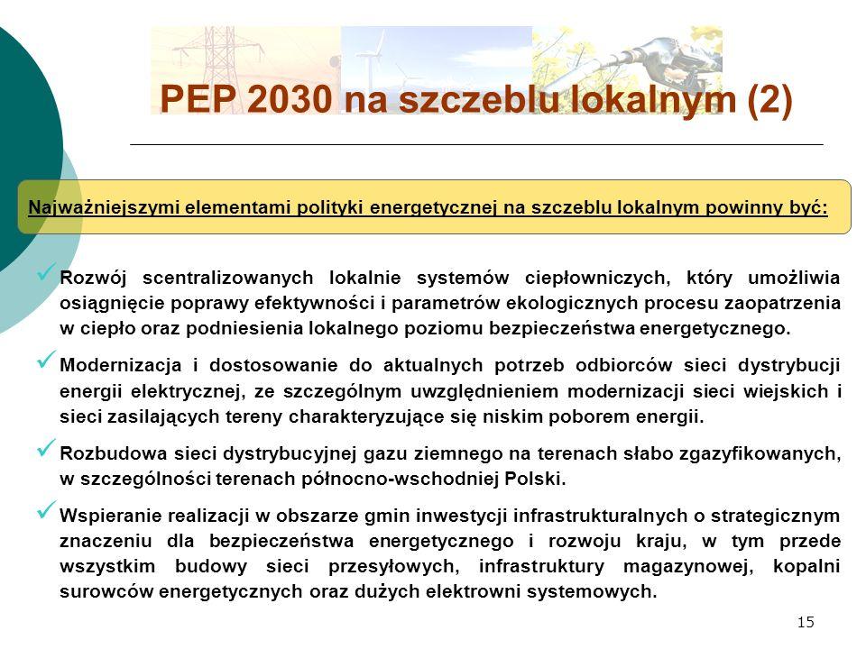 15 PEP 2030 na szczeblu lokalnym (2) Najważniejszymi elementami polityki energetycznej na szczeblu lokalnym powinny być: Rozwój scentralizowanych lokalnie systemów ciepłowniczych, który umożliwia osiągnięcie poprawy efektywności i parametrów ekologicznych procesu zaopatrzenia w ciepło oraz podniesienia lokalnego poziomu bezpieczeństwa energetycznego.