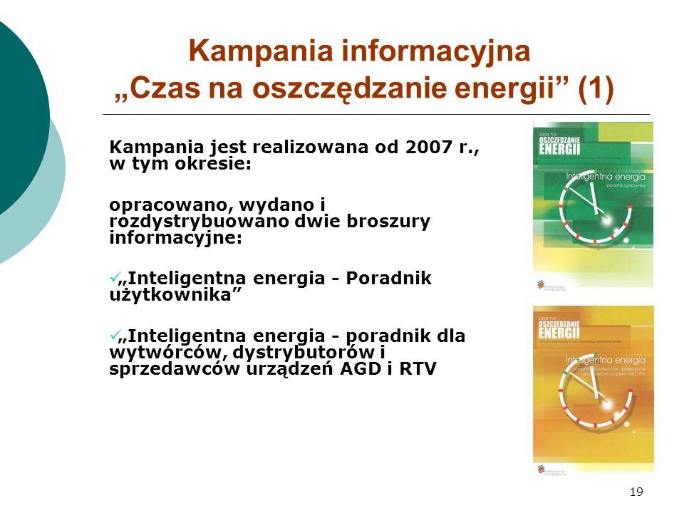 """19 Kampania informacyjna """"Czas na oszczędzanie energii (1) Kampania jest realizowana od 2007 r., w tym okresie: opracowano, wydano i rozdystrybuowano dwie broszury informacyjne: """"Inteligentna energia - Poradnik użytkownika """"Inteligentna energia - poradnik dla wytwórców, dystrybutorów i sprzedawców urządzeń AGD i RTV"""
