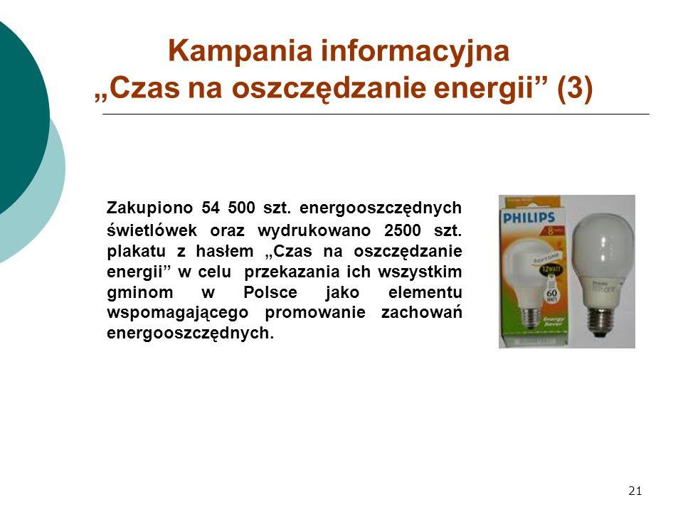 """21 Kampania informacyjna """"Czas na oszczędzanie energii (3) Zakupiono 54 500 szt."""