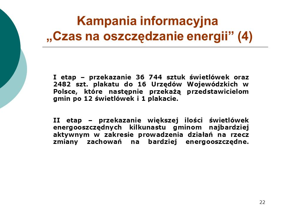 """22 Kampania informacyjna """"Czas na oszczędzanie energii (4) I etap – przekazanie 36 744 sztuk świetlówek oraz 2482 szt."""
