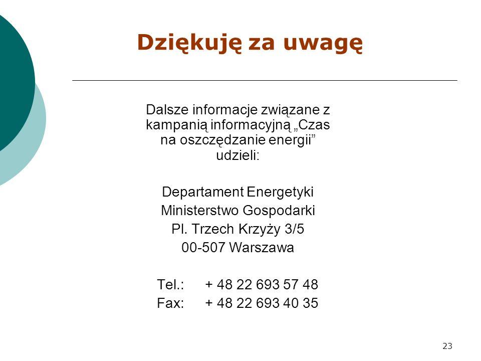 """23 Dziękuję za uwagę Dalsze informacje związane z kampanią informacyjną """"Czas na oszczędzanie energii udzieli: Departament Energetyki Ministerstwo Gospodarki Pl."""