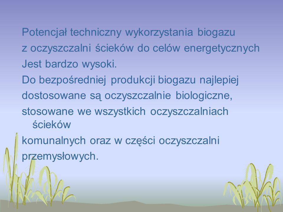 Potencjał techniczny wykorzystania biogazu z oczyszczalni ścieków do celów energetycznych Jest bardzo wysoki.