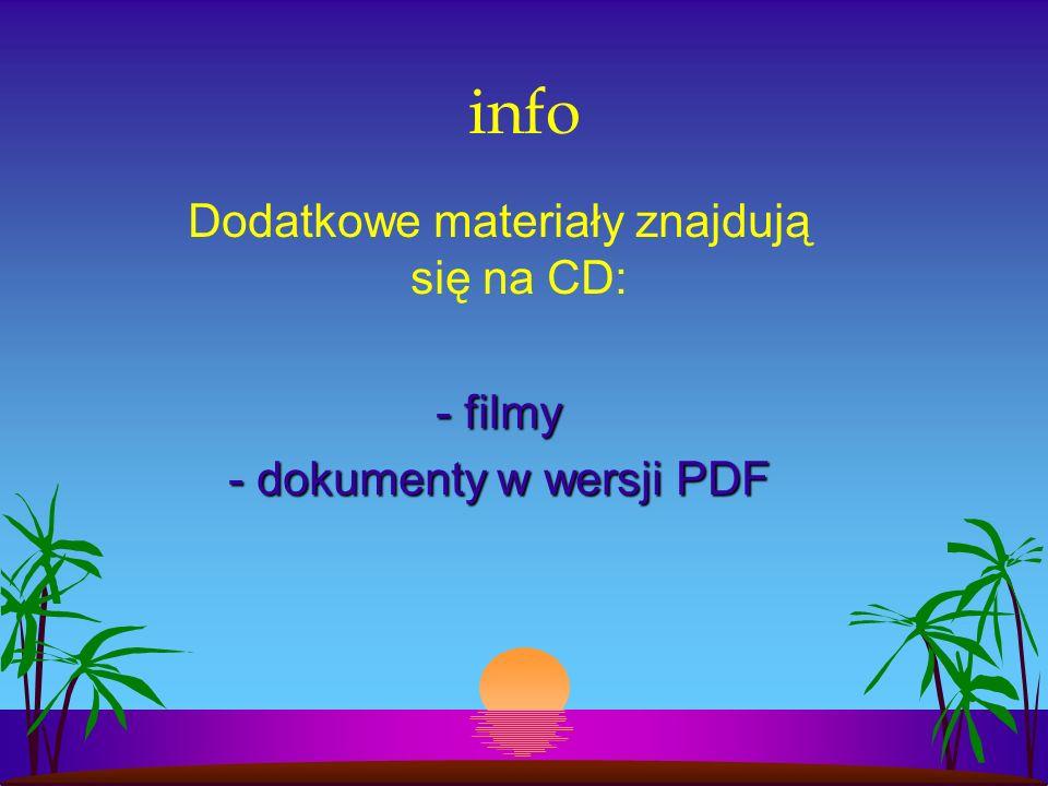 info Dodatkowe materiały znajdują się na CD: - filmy - dokumenty w wersji PDF