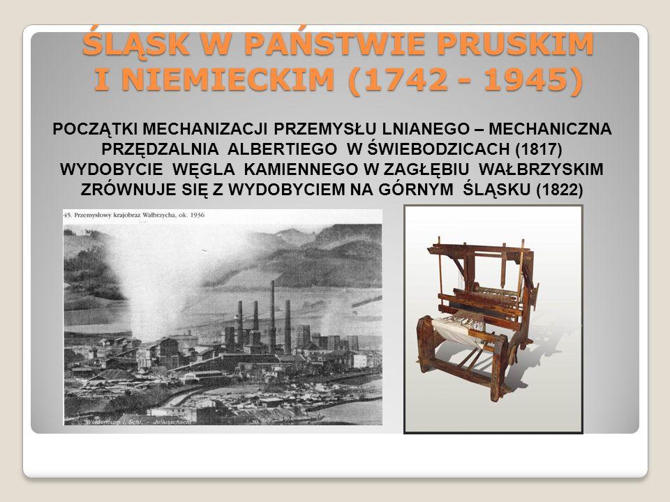 ŚLĄSK W PAŃSTWIE PRUSKIM I NIEMIECKIM (1742 - 1945) POCZĄTKI MECHANIZACJI PRZEMYSŁU LNIANEGO – MECHANICZNA PRZĘDZALNIA ALBERTIEGO W ŚWIEBODZICACH (181
