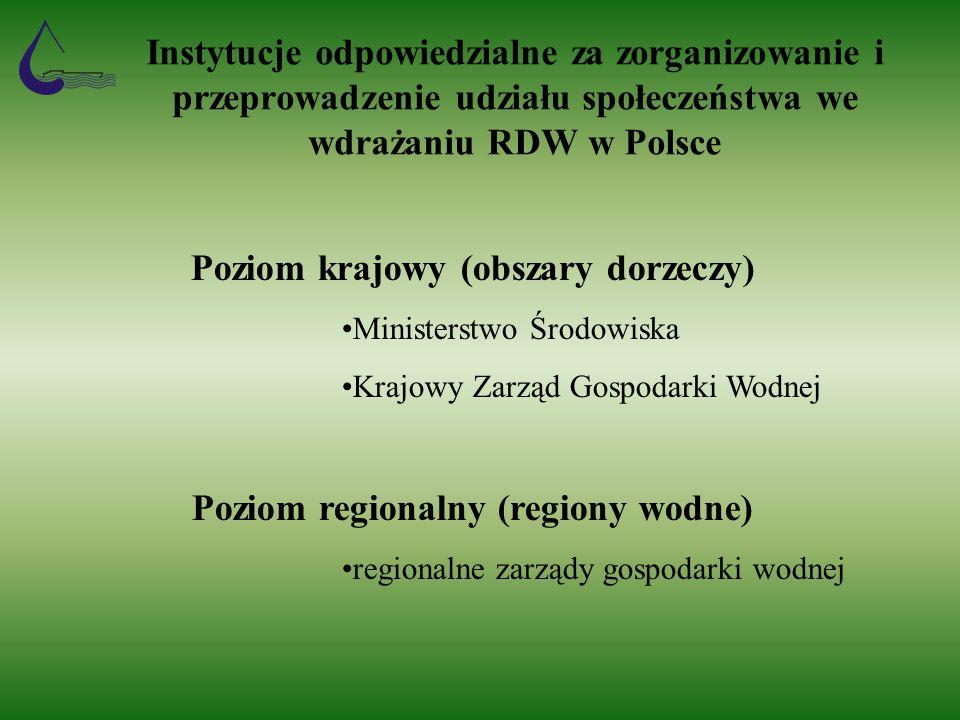 Instytucje odpowiedzialne za zorganizowanie i przeprowadzenie udziału społeczeństwa we wdrażaniu RDW w Polsce Poziom krajowy (obszary dorzeczy) Ministerstwo Środowiska Krajowy Zarząd Gospodarki Wodnej Poziom regionalny (regiony wodne) regionalne zarządy gospodarki wodnej
