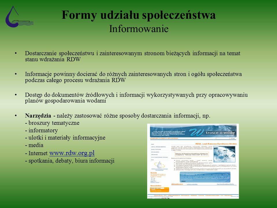 Formy udziału społeczeństwa Informowanie Dostarczanie społeczeństwu i zainteresowanym stronom bieżących informacji na temat stanu wdrażania RDW Informacje powinny docierać do różnych zainteresowanych stron i ogółu społeczeństwa podczas całego procesu wdrażania RDW Dostęp do dokumentów źródłowych i informacji wykorzystywanych przy opracowywaniu planów gospodarowania wodami Narzędzia - należy zastosować różne sposoby dostarczania informacji, np.