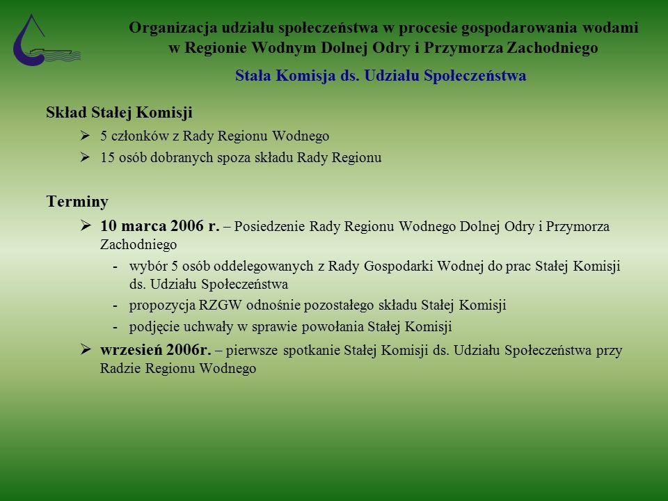 Skład Stałej Komisji  5 członków z Rady Regionu Wodnego  15 osób dobranych spoza składu Rady Regionu Terminy  10 marca 2006 r.