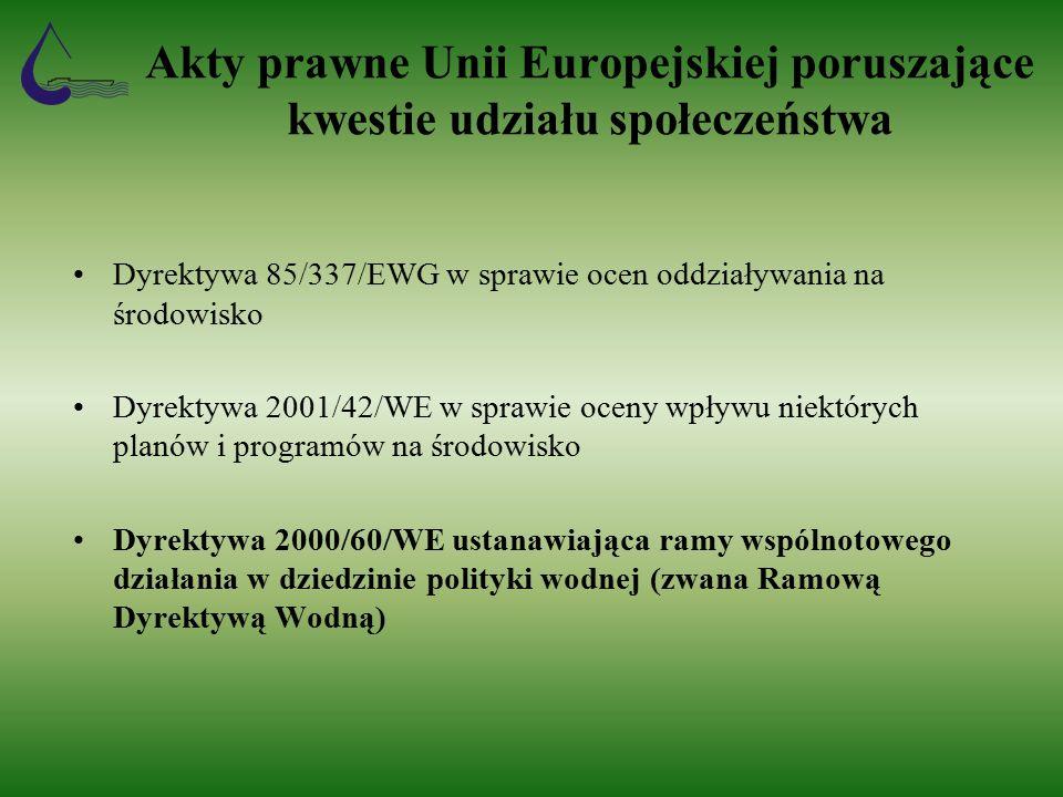 Akty prawne Unii Europejskiej poruszające kwestie udziału społeczeństwa Dyrektywa 85/337/EWG w sprawie ocen oddziaływania na środowisko Dyrektywa 2001/42/WE w sprawie oceny wpływu niektórych planów i programów na środowisko Dyrektywa 2000/60/WE ustanawiająca ramy wspólnotowego działania w dziedzinie polityki wodnej (zwana Ramową Dyrektywą Wodną)